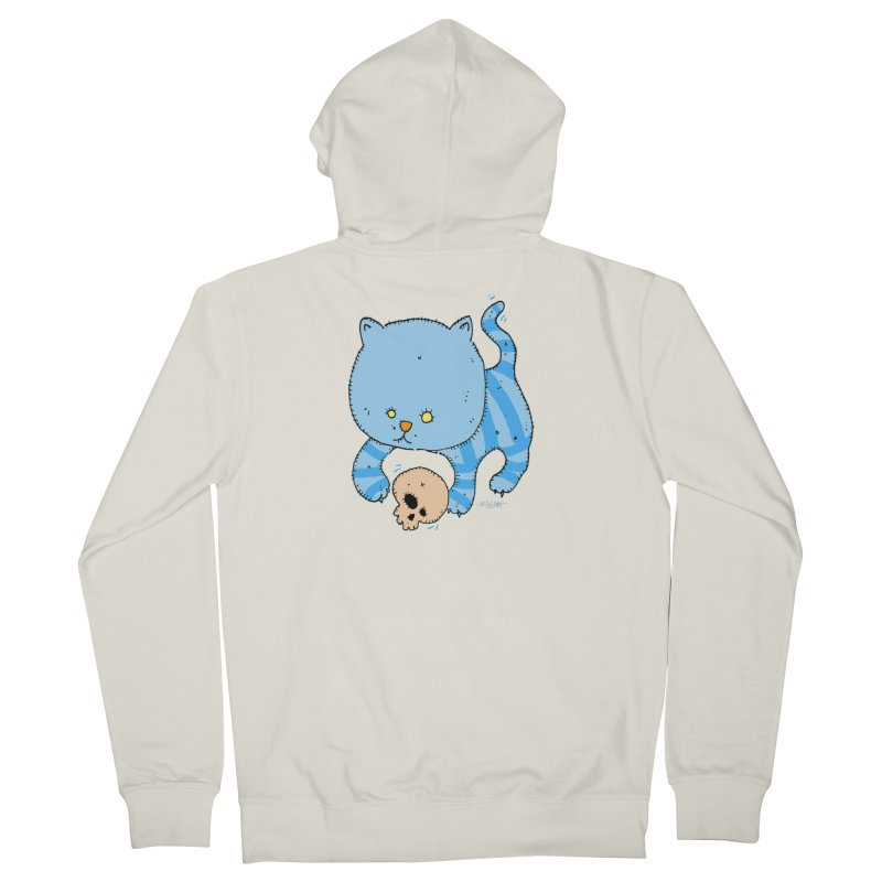 Cat and Skull Men's French Terry Zip-Up Hoody by Bad Otis Link's Artist Shop