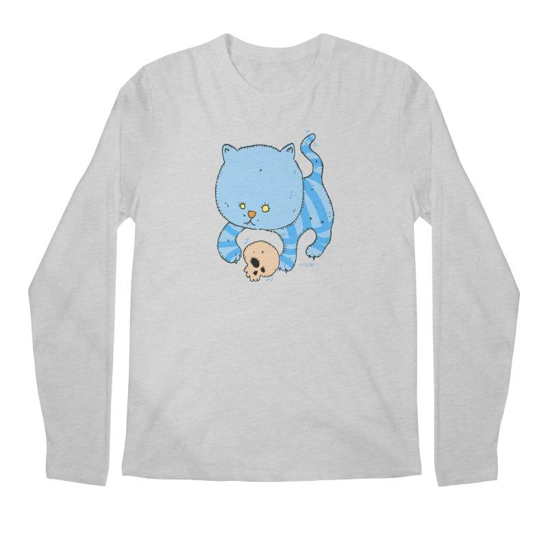 Cat and Skull Men's Regular Longsleeve T-Shirt by Bad Otis Link's Artist Shop