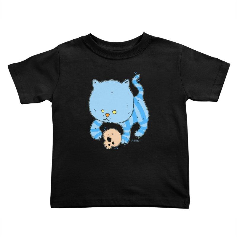 Cat and Skull Kids Toddler T-Shirt by Bad Otis Link's Artist Shop