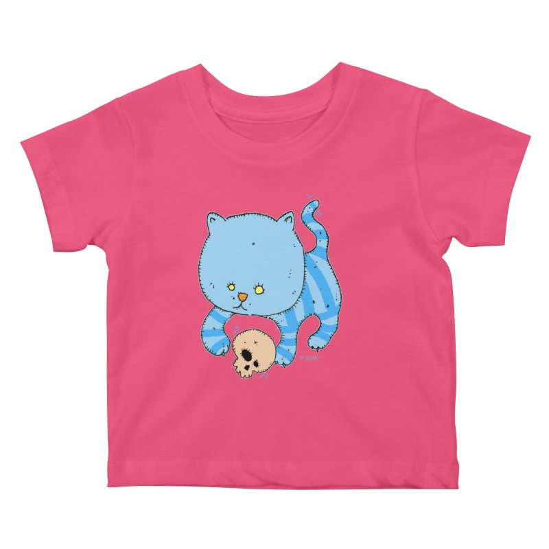 Cat and Skull Kids Baby T-Shirt by Bad Otis Link's Artist Shop