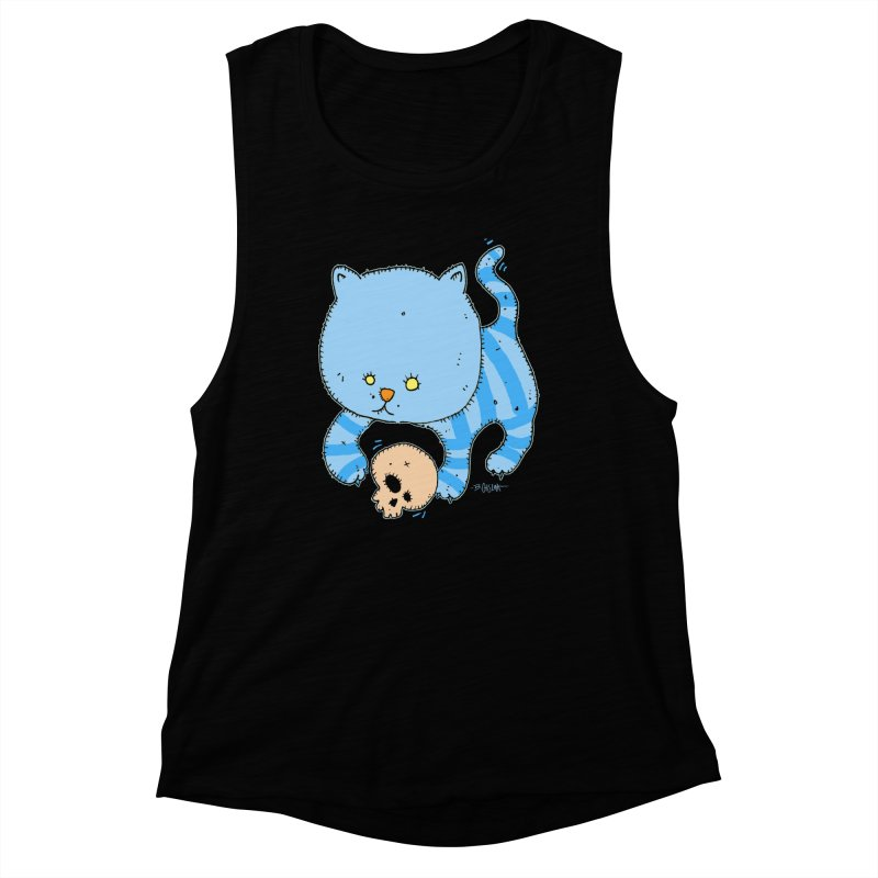 Cat and Skull Women's Muscle Tank by Bad Otis Link's Artist Shop