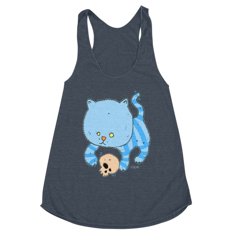 Cat and Skull Women's Racerback Triblend Tank by Bad Otis Link's Artist Shop