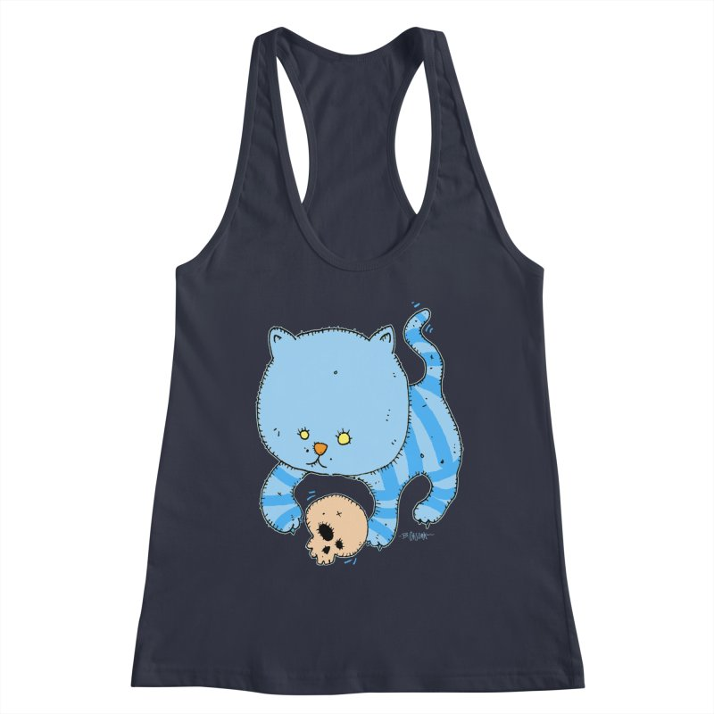 Cat and Skull Women's Racerback Tank by Bad Otis Link's Artist Shop