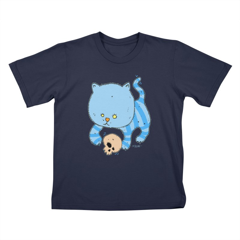 Cat and Skull Kids T-Shirt by Bad Otis Link's Artist Shop