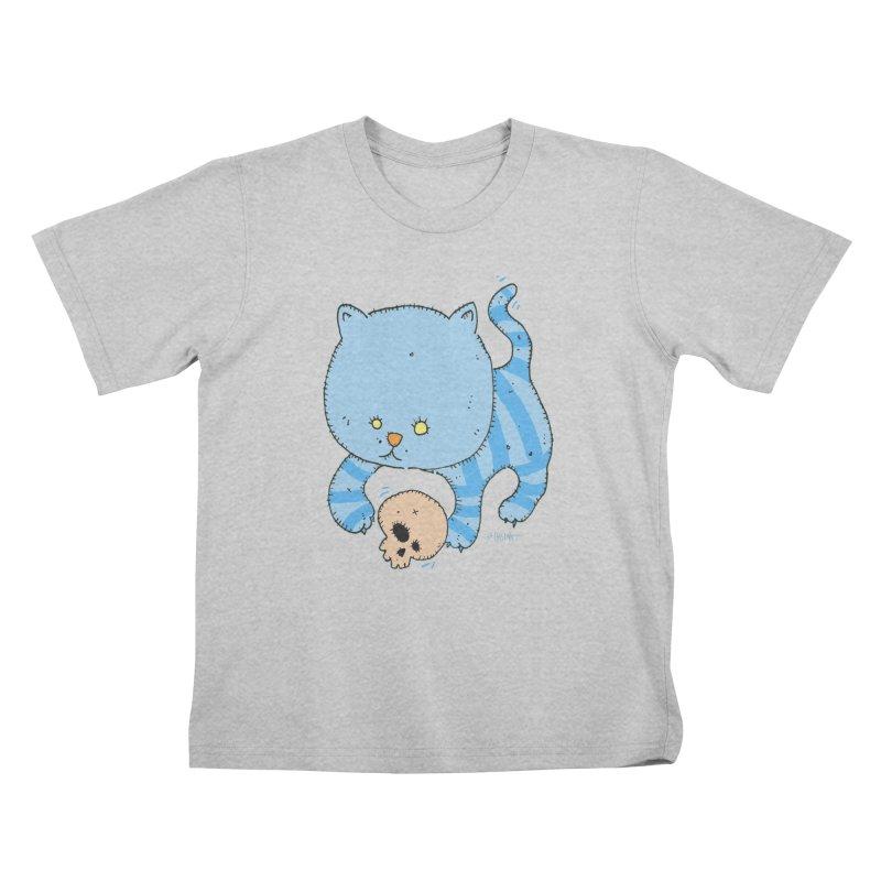 Cat and Skull Kids T-Shirt by Bad Otis Link's Artist Shop