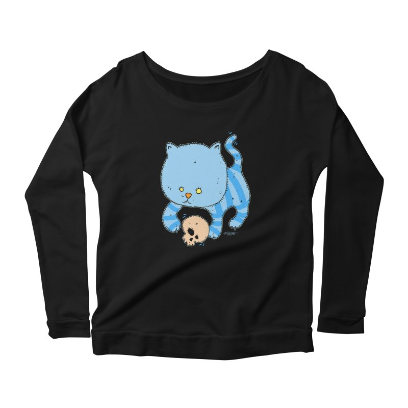 Cat and Skull Women's Scoop Neck Longsleeve T-Shirt by Bad Otis Link's Artist Shop