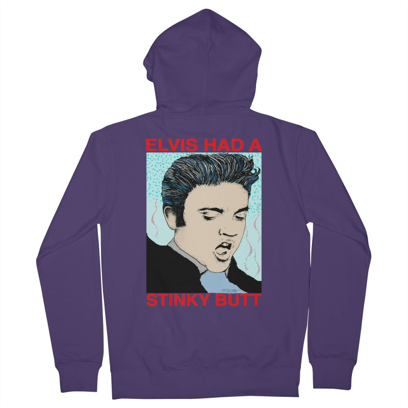 Elvis Had a Stinky Butt Women's French Terry Zip-Up Hoody by Bad Otis Link's Artist Shop