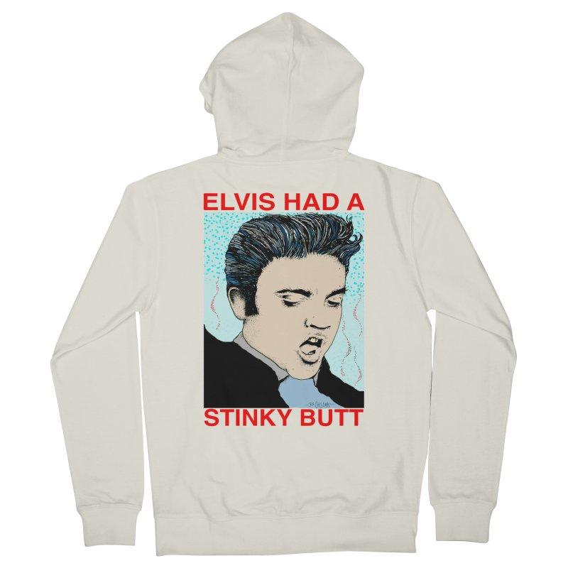 Elvis Had a Stinky Butt Men's French Terry Zip-Up Hoody by Bad Otis Link's Artist Shop