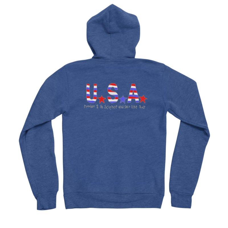 Go USA Men's Sponge Fleece Zip-Up Hoody by Bad Otis Link's Artist Shop