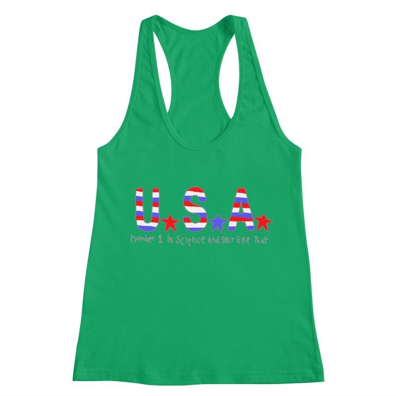 Go USA Women's Racerback Tank by Bad Otis Link's Artist Shop