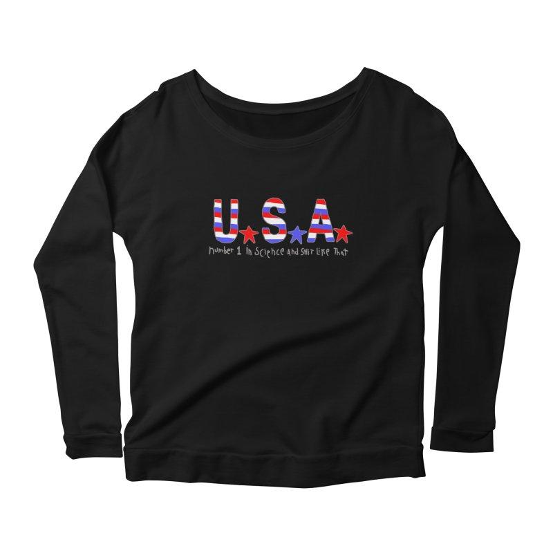Go USA Women's Scoop Neck Longsleeve T-Shirt by Bad Otis Link's Artist Shop