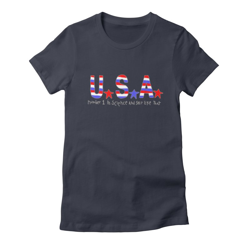 Go USA Women's Fitted T-Shirt by Bad Otis Link's Artist Shop
