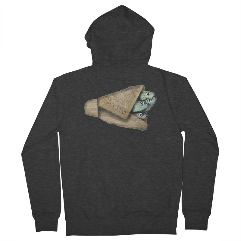 Dead fish wrapped in the constitution Women's French Terry Zip-Up Hoody by Bad Otis Link's Artist Shop