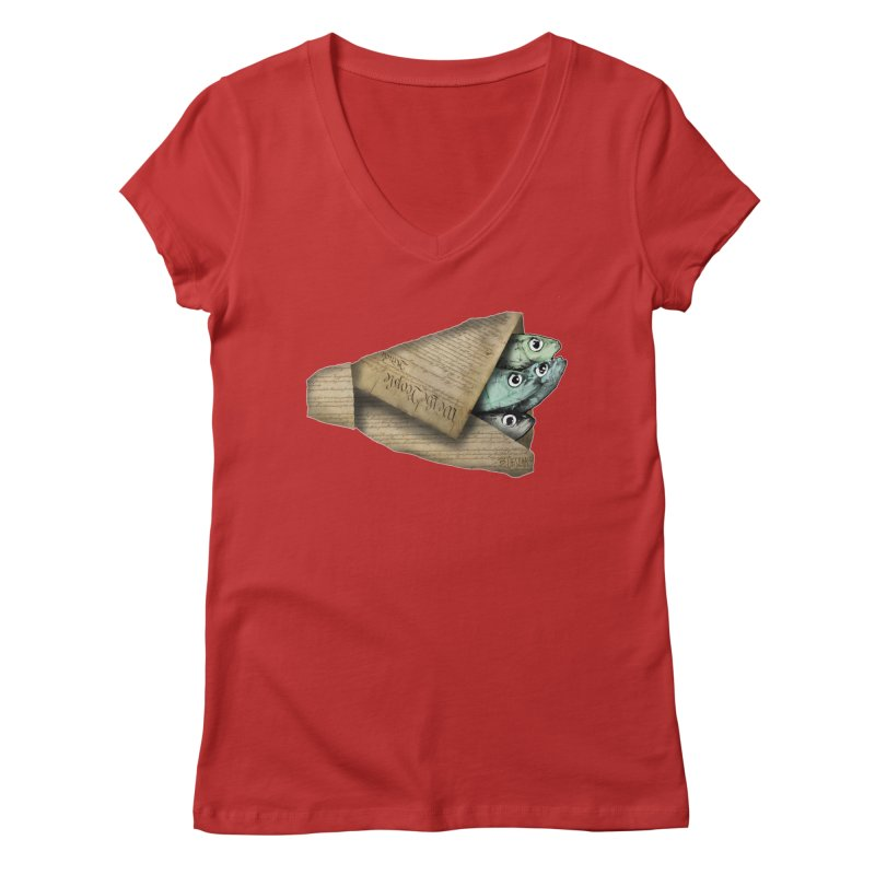 Dead fish wrapped in the constitution Women's V-Neck by Bad Otis Link's Artist Shop
