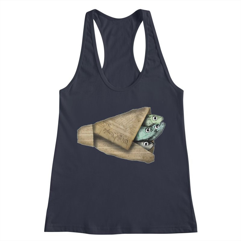 Dead fish wrapped in the constitution Women's Racerback Tank by Bad Otis Link's Artist Shop
