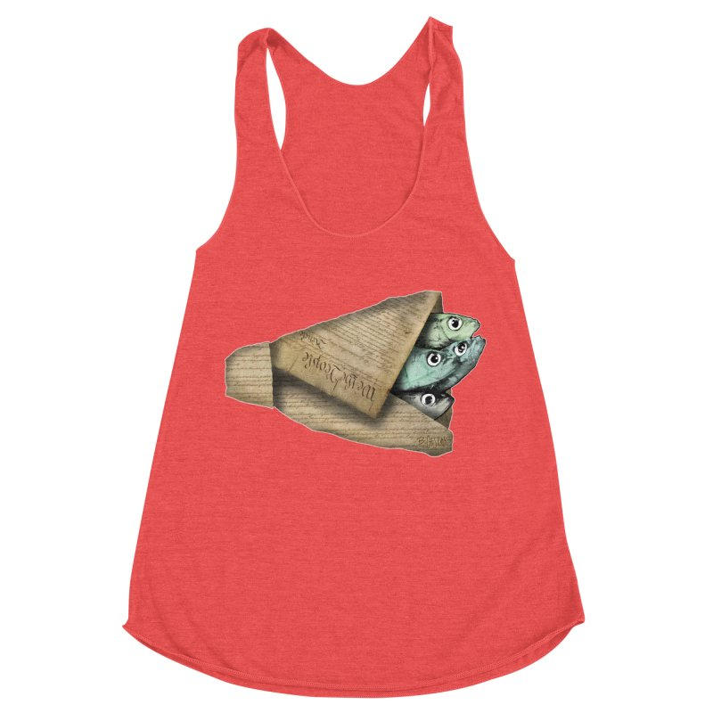Dead fish wrapped in the constitution Women's Racerback Triblend Tank by Bad Otis Link's Artist Shop