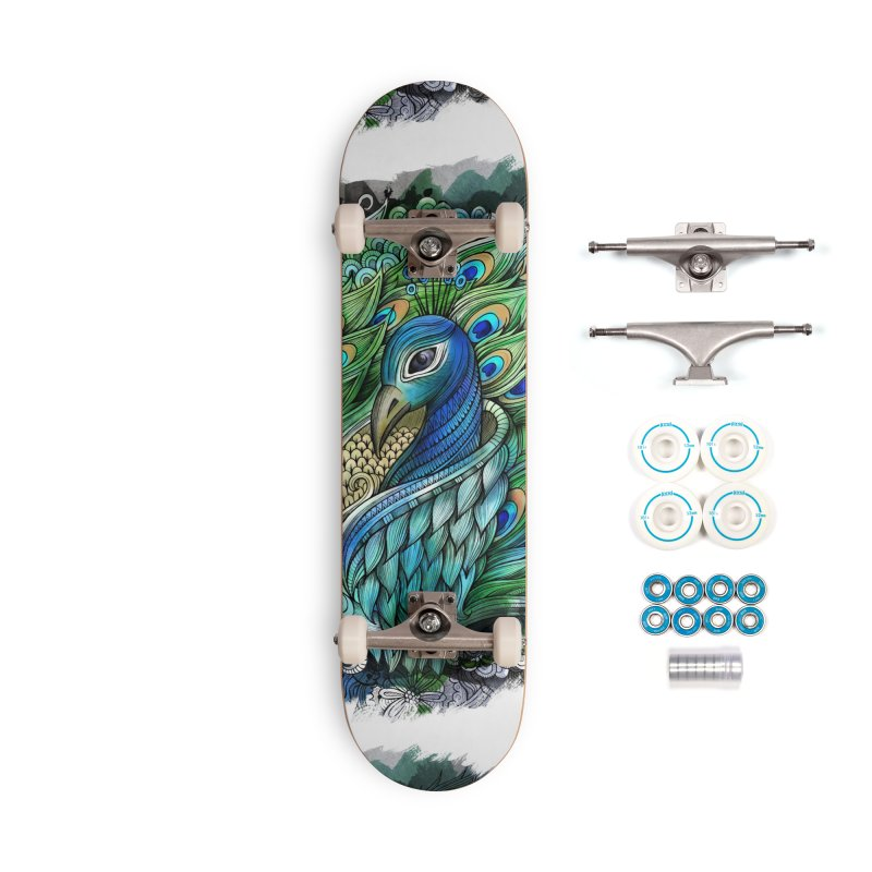 Doodle PEACOCK Accessories Skateboard by Balabolka's Shop