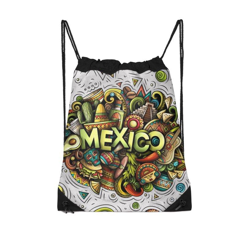 MEXICO Cartoon Illustration Accessories Bag by Balabolka's Shop