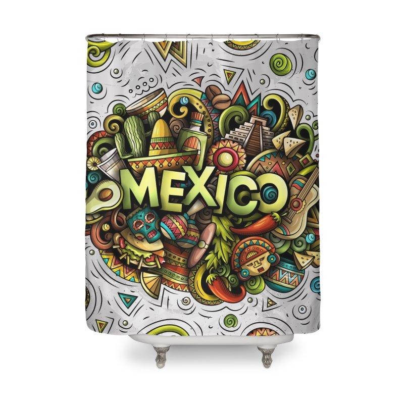 MEXICO Cartoon Illustration Home Shower Curtain by Balabolka's Shop