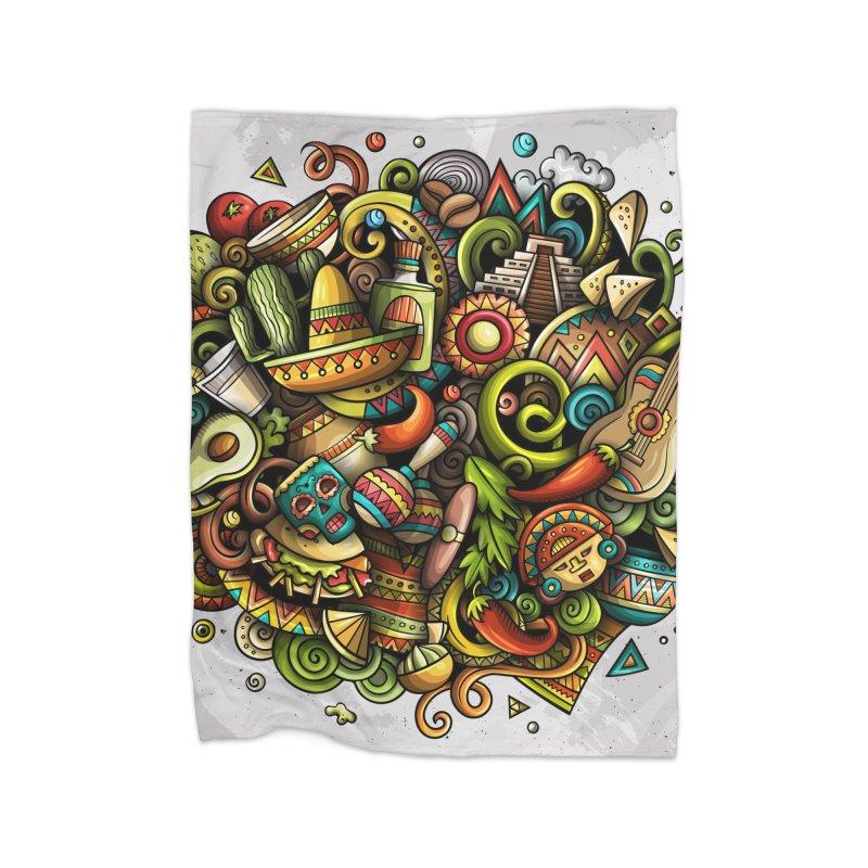 Cartoon MEXICO Design Home Blanket by Balabolka's Shop