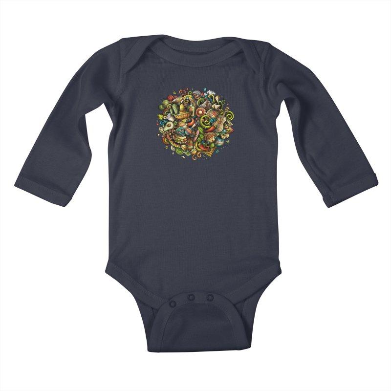 Cartoon MEXICO Design Kids Baby Longsleeve Bodysuit by Balabolka's Shop