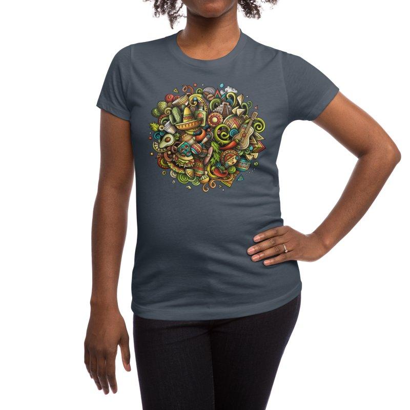 Cartoon MEXICO Design Women's T-Shirt by Balabolka's Shop