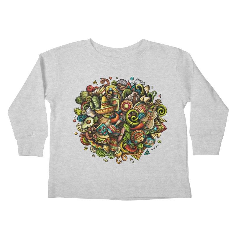 Cartoon MEXICO Design Kids Toddler Longsleeve T-Shirt by Balabolka's Shop