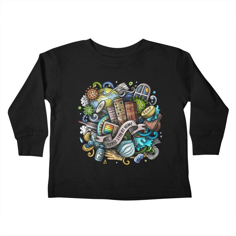 Stay at Home Cartoon Illustration Kids Toddler Longsleeve T-Shirt by Balabolka's Shop