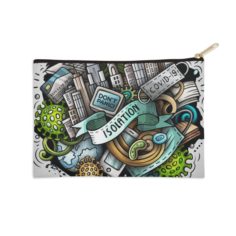 SELF-ISOLATION Cartoon Illustration Accessories Zip Pouch by Balabolka's Shop
