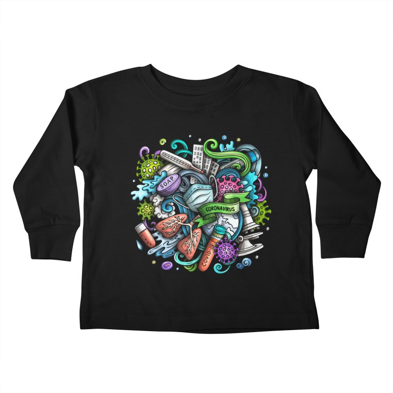 Coronavirus Cartoon Illustration Kids Toddler Longsleeve T-Shirt by Balabolka's Shop