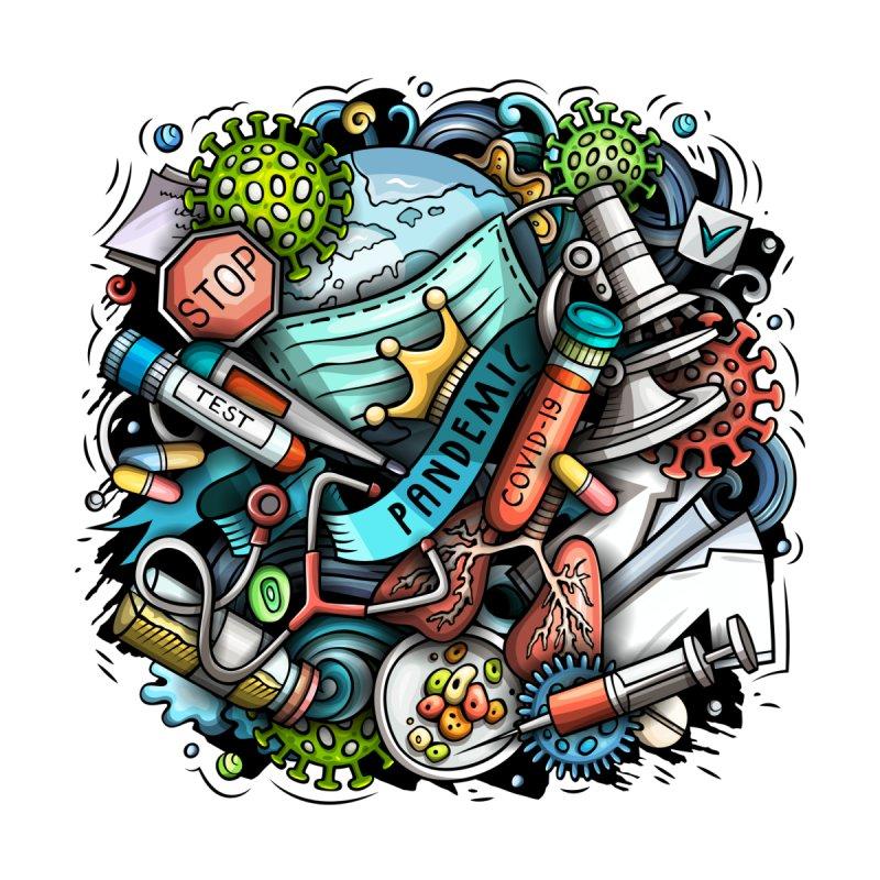 Pandemic Cartoon Illustration Men's T-Shirt by Balabolka's Shop