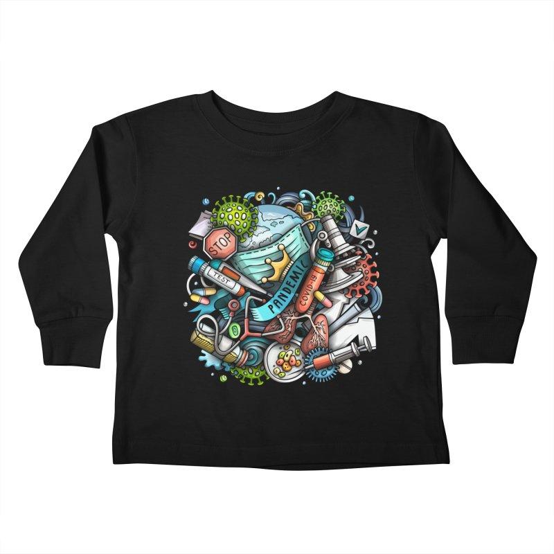 Pandemic Cartoon Illustration Kids Toddler Longsleeve T-Shirt by Balabolka's Shop