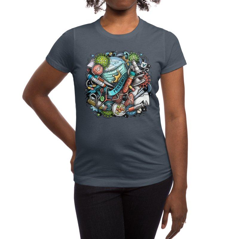Pandemic Cartoon Illustration Women's T-Shirt by Balabolka's Shop