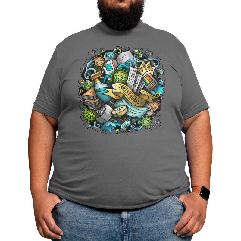 Stay at Home Cartoon Illustration Men's T-Shirt by Balabolka's Shop