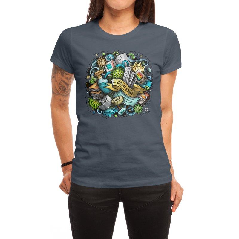 Stay at Home Cartoon Illustration Women's T-Shirt by Balabolka's Shop