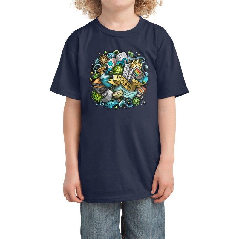 Stay at Home Cartoon Illustration Kids T-Shirt by Balabolka's Shop