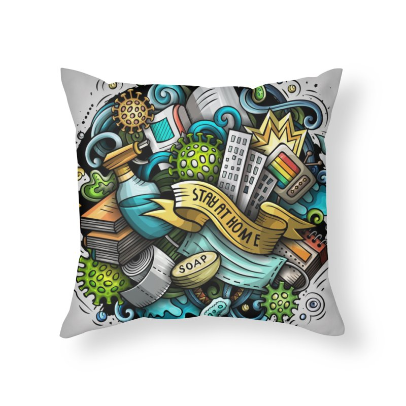 Stay at Home Cartoon Illustration Home Throw Pillow by Balabolka's Shop