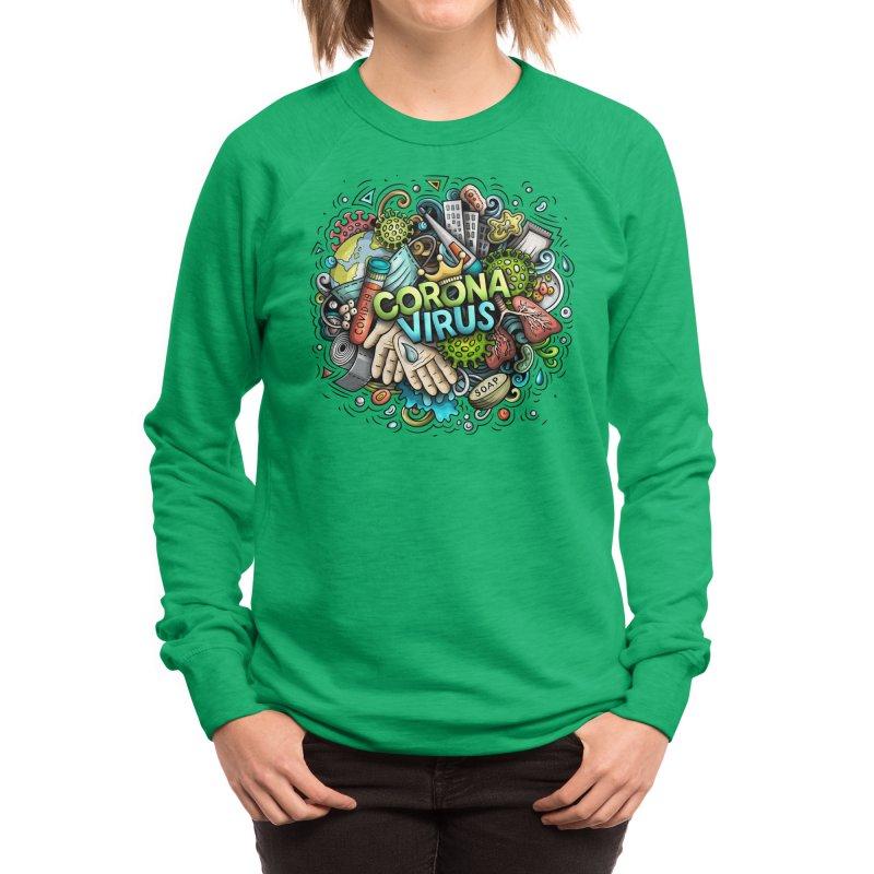Coronavirus cartoon illustration Women's Sweatshirt by Balabolka's Shop