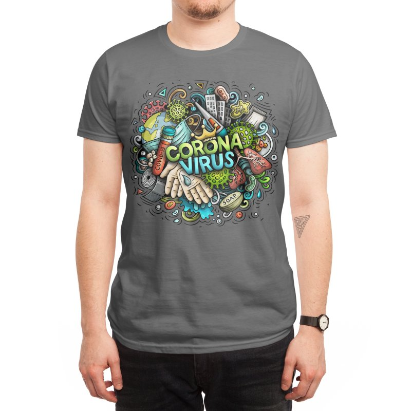 Coronavirus cartoon illustration Men's T-Shirt by Balabolka's Shop