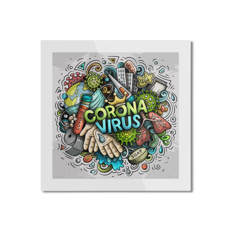Coronavirus cartoon illustration Home Mounted Aluminum Print by Balabolka's Shop