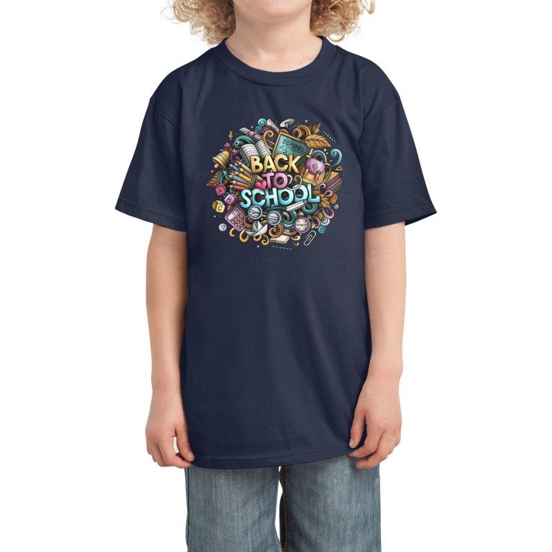 Back to School Cartoon Design Kids T-Shirt by Balabolka's Shop