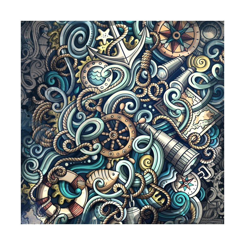 Nautical Grunge Background Home Fine Art Print by Balabolka's Shop