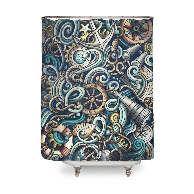 Nautical Grunge Background Home Shower Curtain by Balabolka's Shop