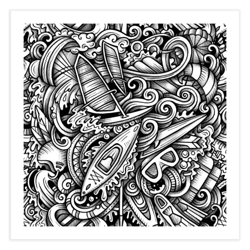 Water Sports Doodle Home Fine Art Print by Balabolka's Shop