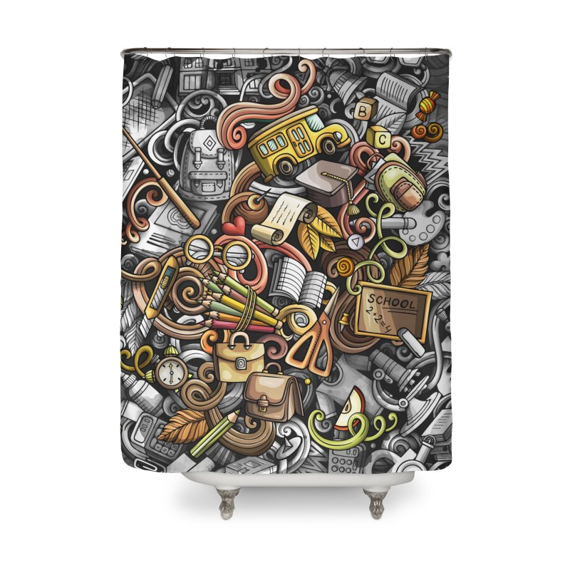 Back to School Home Shower Curtain by Balabolka's Shop