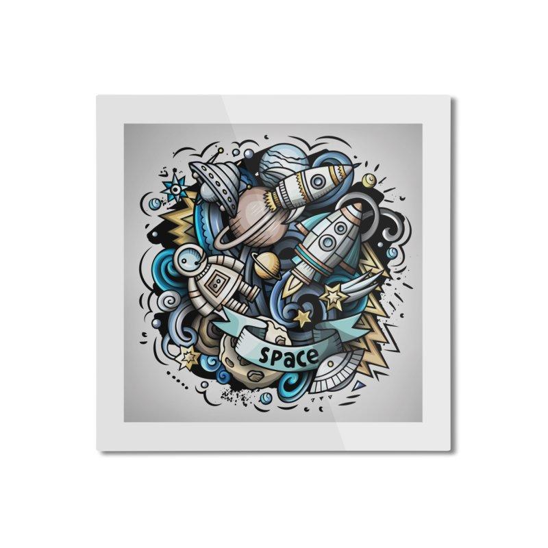 Space Cartoon Home Mounted Aluminum Print by Balabolka's Shop