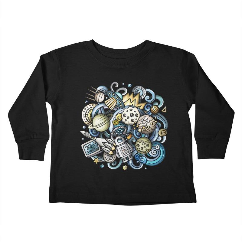 Space Cartoon Kids Toddler Longsleeve T-Shirt by Balabolka's Shop