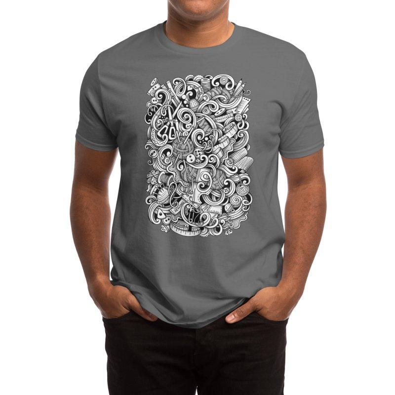 Handmade graphics doodle Men's T-Shirt by Balabolka's Shop