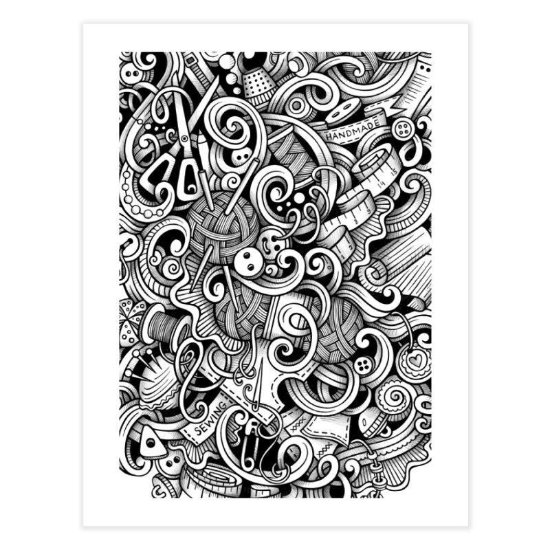 Handmade graphics doodle Home Fine Art Print by Balabolka's Shop