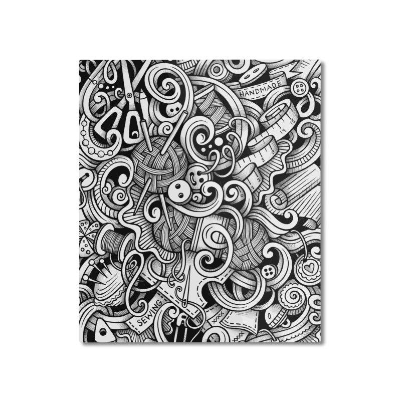 Handmade graphics doodle Home Mounted Aluminum Print by Balabolka's Shop